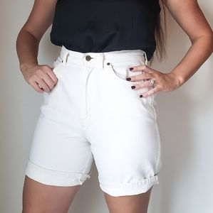 Vintage | White Long High Waisted Shorts